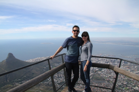 On top of Table Mountain, overlooking Cape Town.